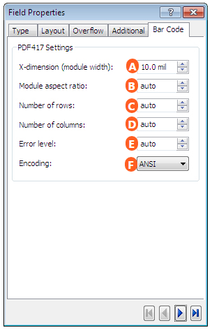 At a Glance: The Field Properties Dialog Box (Barcode Tab)