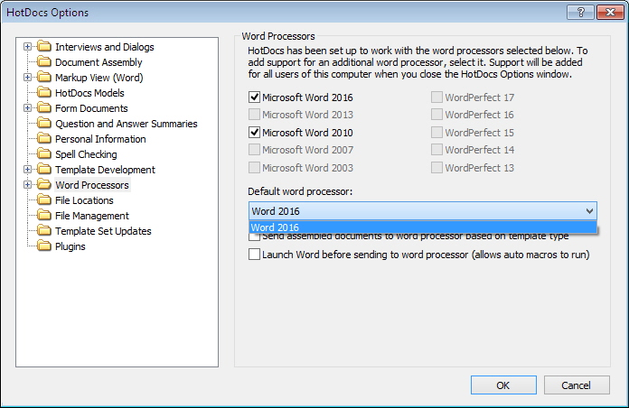 At a Glance: Word Processors (HotDocs Options)